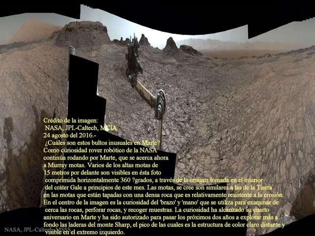 La curiosidad en Murray motas en Marte