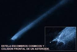 Estela escombros cosmicos colision frontal de un asteroide