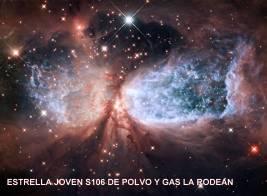 Estrella Joven S106 IRE de polvo y gas la rodean
