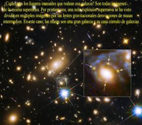 Galaxia y Cluster con 4 imagenes de supernovas