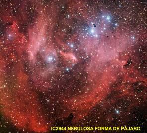 IC 2944 Nebulosa forma pajaro