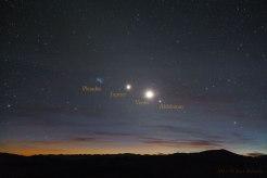 Linea planetas y estrellas Venus-jupiter-pleyades