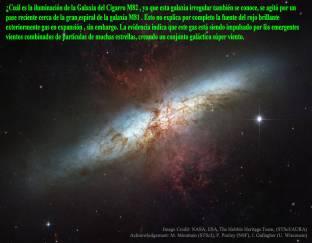M82 Galaxia con 1 viento supergalactico