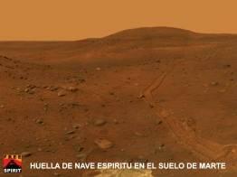 Nave esp'iritu en el suelo Blando de Marte