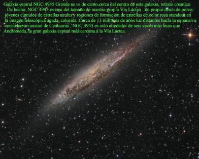 NGC-4945-Galaxia Espiral se ve de canto