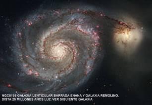 ngc5195 galaxia lenticular barrada enana y galaxia remolino. dista 25 millones a.l.