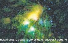 Nuevo objeto celeste con 25000 asteroides y 15 cometas