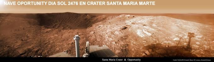 OportunitySol2476_Kremer en el crater Santa Maria Marte