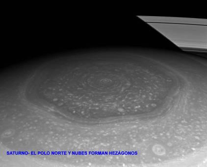 Polo norte saturno nubes forman hexagonos