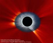 Eclipse solar combinado Corona de la Tierra y del Espacio