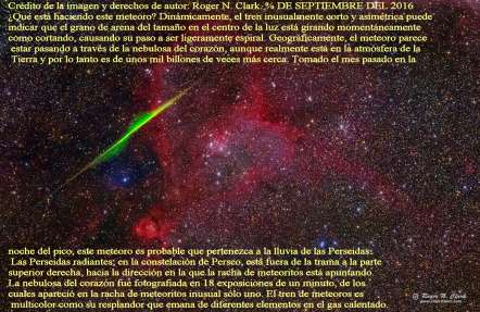 Espiral de meteoritos a través de la Nebulosa del Corazón