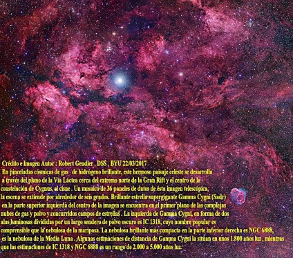 IC1318 y ngc 6888 cygnus central skyscape