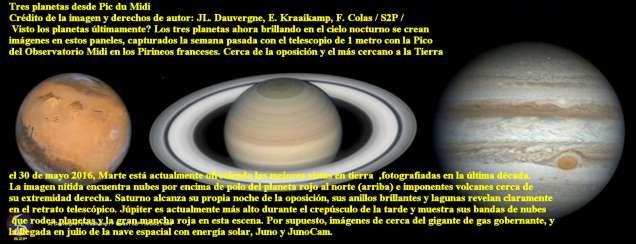 Los 3 planetas Marte,saturno y Jupiter al 02062016