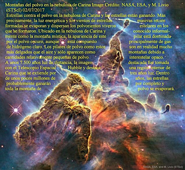 Montañas de polvo en la nebulosa de Carina