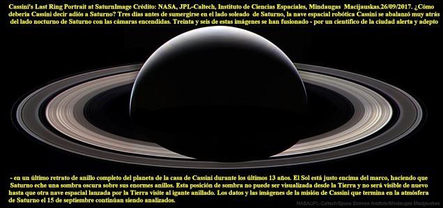 NAVE CASSINI ADIOS A SATURNO