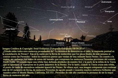 Perseidas meteoros sobre Mount Shasta