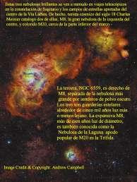 Tres nebulosas M8 y M20 en la constelacion del Sagitario