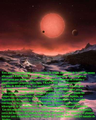 TRES NUEVOS MUNDOS Y EL SOL TRAPPIST-1