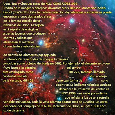NGC1999_Arcos, Jets y Choques