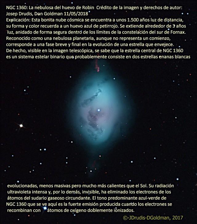 NGC 1360 La nebulosa del huevo de Robin